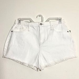 NWT White High Waisted Distressed Jean Shorts